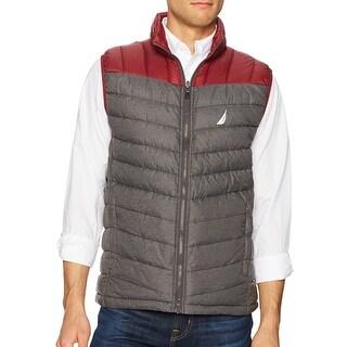 Nautica Gray Mens Size XL Full-Zip Vest Puffer Colorblock Jacket