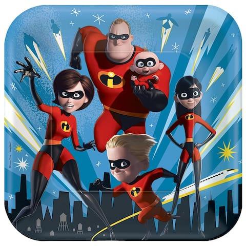 "Disney/Pixar Incredibles 2 9"" Square Paper Party Plates, 8-Pack - Multi"