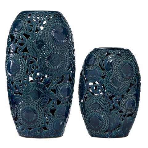"Blue Ceramic Vase With Decorative Holes Set of 2 18"" 13"" - 10 x 6 x 18"