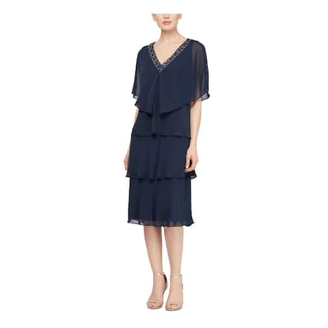 SLNY Womens Navy Short Sleeve Midi Shift Evening Dress Size 14