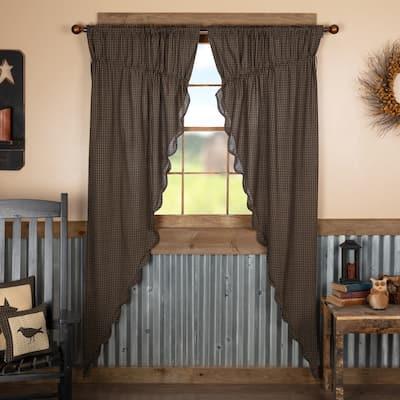 Kettle Grove Plaid Prairie Long Panel Scalloped Set of 2 84x36x18 - Prairie Panel 84x36