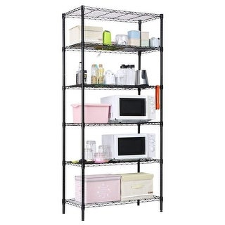 LANGRIA 6 Tier Heavy Duty Wire Shelving Garage Storage Rack Metal, Black