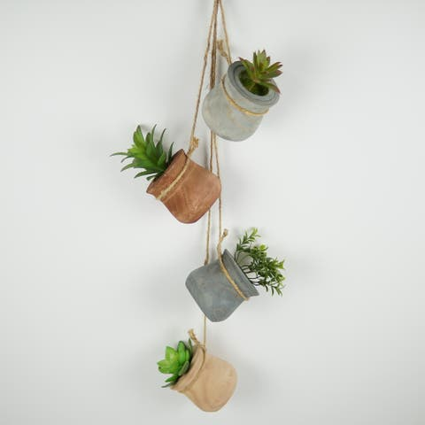 Artificial Succulents Set of 8 Mini Fake Plants with Wood Box