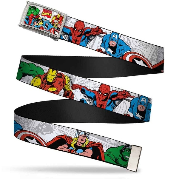 Marvel Comics Marvel Comics Logo W Characters Fcg Chrome Marvel Web Belt