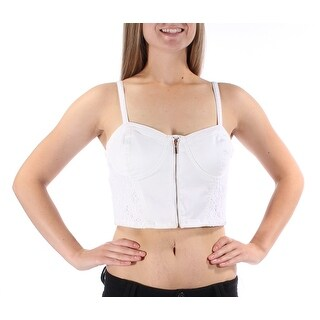 MATERIAL GIRL 1550 White Sweetheart Zippered Lace Crop Top Top Juniors L B+B