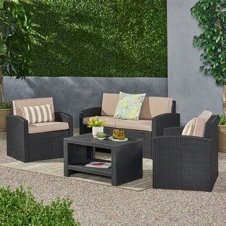 Link to Heald Outdoor Faux Wicker 4 Seater Chat Set with Cushions by Christopher Knight Home Similar Items in Outdoor Sofas, Chairs & Sectionals