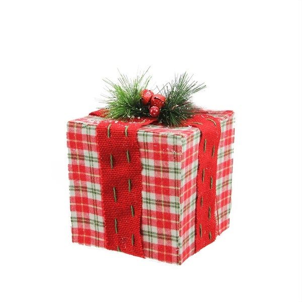 "6"" Square Red, White and Green Plaid Gift Box with Pine Bow Table Top Christmas Decoration"