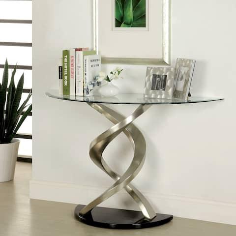 Furniture of America Sele Modern Silver Metal Pedestal Base Sofa Table