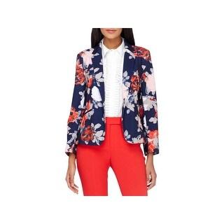 Tahari ASL Womens One-Button Blazer Floral Print Long Sleeve