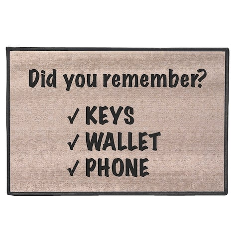 "What on Earth Funny Doormat - Did You Remember? Keys Wallet Phone Welcome Mat, Olefin 18"" x 27"" - Beige - 27 Inch x 18 Inch"