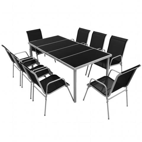 vidaXL Outdoor Dining Set 9 Pieces Table Chair Textilen