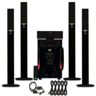Acoustic Audio AAT1003 Tower 5.1 Speaker System with Optical Input and 5 Extension Cables
