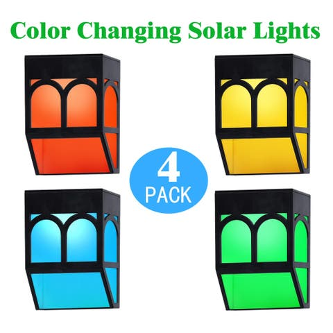 KANSTAR Outdoor Solar Color Changing Night Light (Yellow-white), 4-Pack