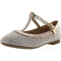 De Blossom Girl Harper-Ii-16 Rhinestones T Strap Flat Dress Pump Shoes