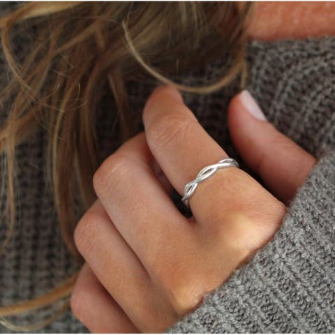 Slate and Tell Braided Stackable Ring in Sterling Silver (Sizes 6/7/8)