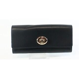 Coach NEW Navy Blue Light Gold Leather Slim Turnlock Envelope Wallet