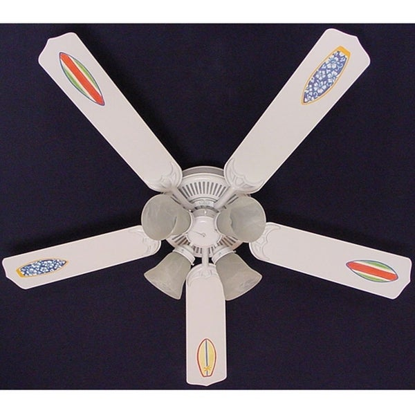 White Rad Surf Board Print Blades 52in Ceiling Fan Light Kit - Multi