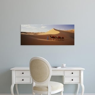 Easy Art Prints Panoramic Images's 'Camels in Desert Morocco Africa' Premium Canvas Art