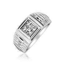 Bling Jewelry .925 Silver Invisible Cut CZ Watch Band Style Mens Engagement Ring