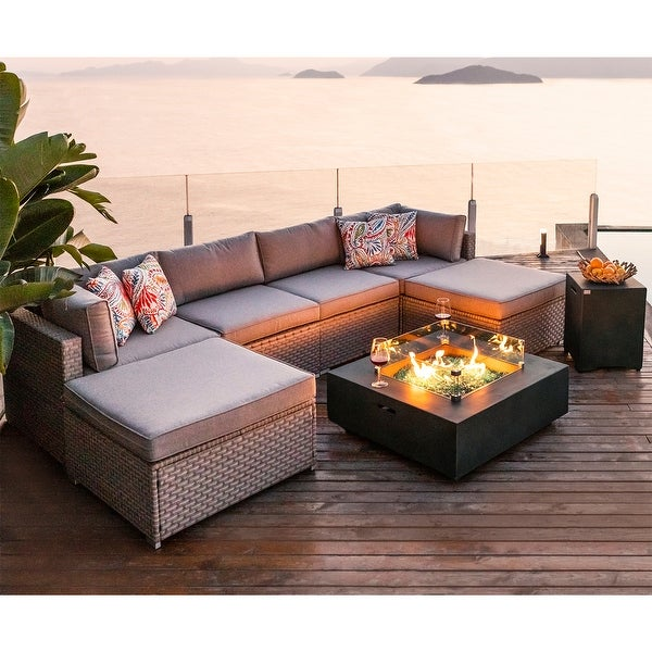 COSIEST 8-Piece Outdoor Furniture Sofa with Green Fire Pit Set. Opens flyout.