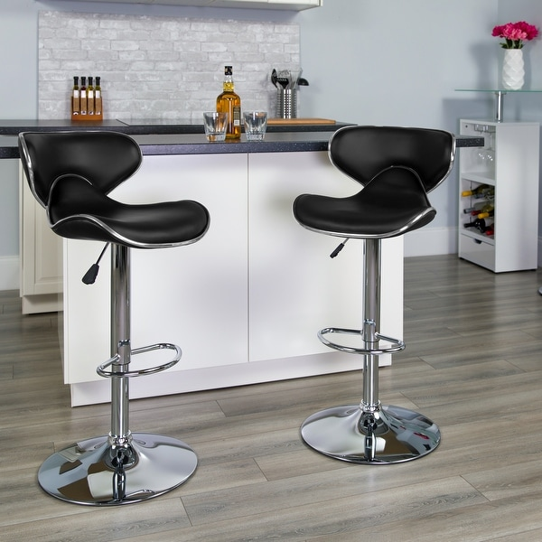 """2 Pack Contemporary Mid-Back Vinyl Adjustable Height Barstool with Chrome Base - 16""""W x 17.5""""D x 34.5"""" - 43""""H. Opens flyout."""