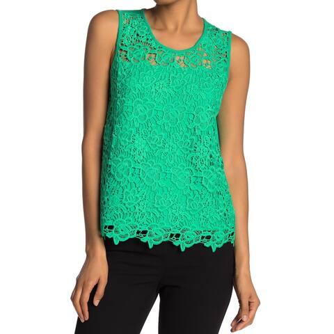 Nanette Lepore Green Womens Size Small S Crochet Scoop Neck Top