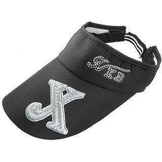 Unique Bargains Women's Rhinestone Embroidered X Black Sun Visor Cap Hat