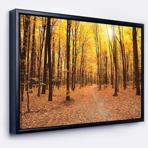 Designart 'Yellow Treetops in Fall Forest' Modern Forest Framed Canvas Art