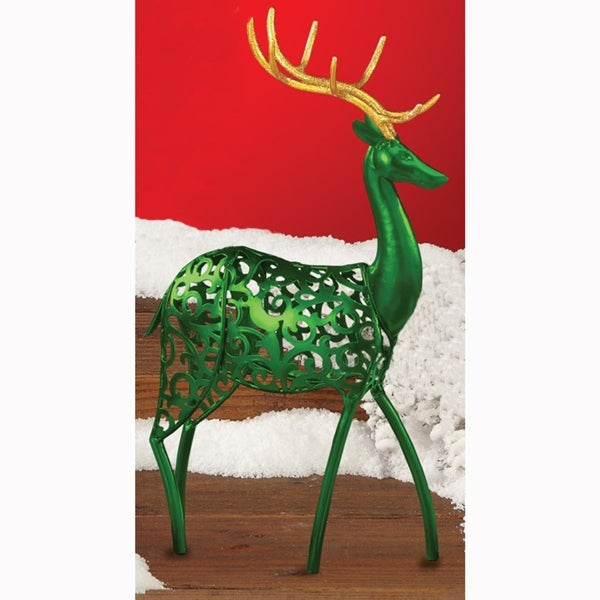 Pack of 2 Small Green Reindeer Christmas Figures with Gold Glitter Antlers 10.5""