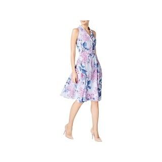 Ivanka Trump Womens Casual Dress Floral Print Striped