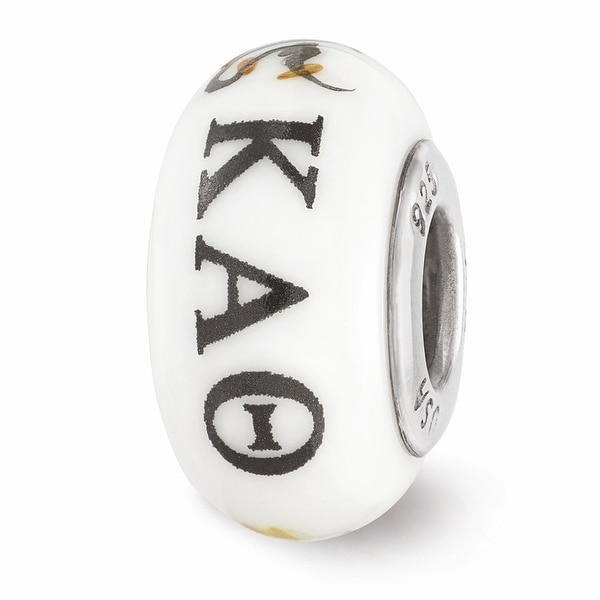 Sterling Silver Reflections Hand Painted Kappa Alpha Theta Glass Bead