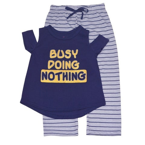 """Girls Navy Gold """"Busy Doing Nothing"""" Cold Shoulder 2 Pc Pajama Set"""