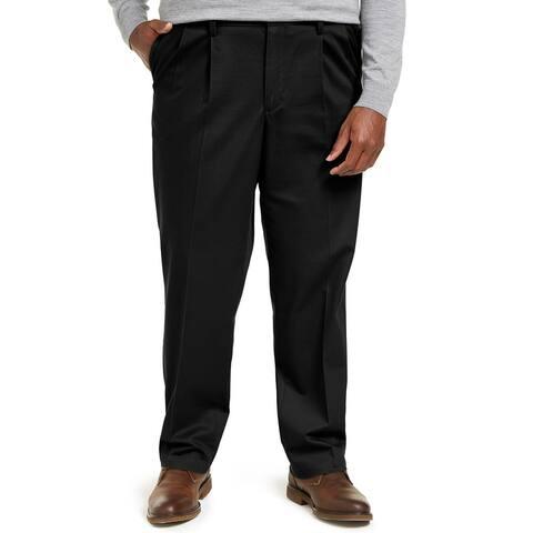 Dockers Mens Khaki Pants Black Size 44x30 Big & Tall Classic Fit Pleated