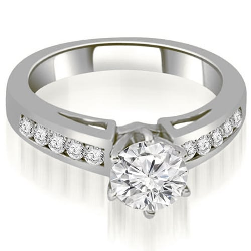1.30 cttw. 14K White Gold Channel Set Round Cut Diamond Engagement Ring