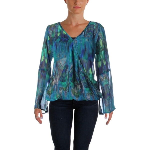 Status by Chenault Womens Blouse Surplice Printed