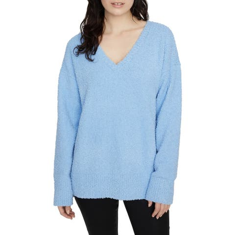 Sanctuary Women's Sweater Sky Blue Size Large L Textured Knitted V-Neck