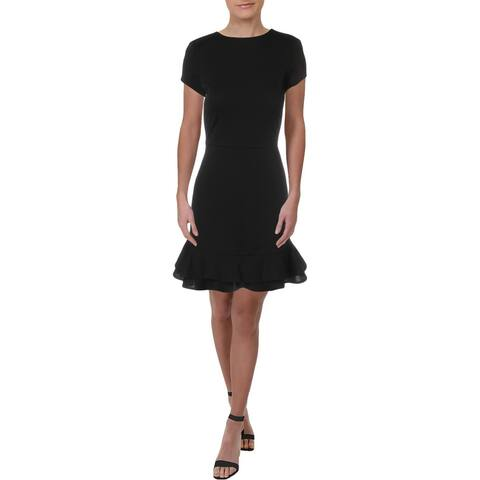 Necessary Objects Womens Party Dress Flounce Cap Sleeves - Black