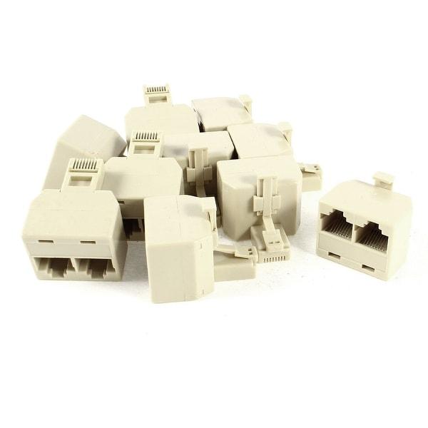 Unique Bargains 10 Pcs Y Shpae RJ45 8P8C 1 Male to 2 Female ADSL Splitter Adapter Connector