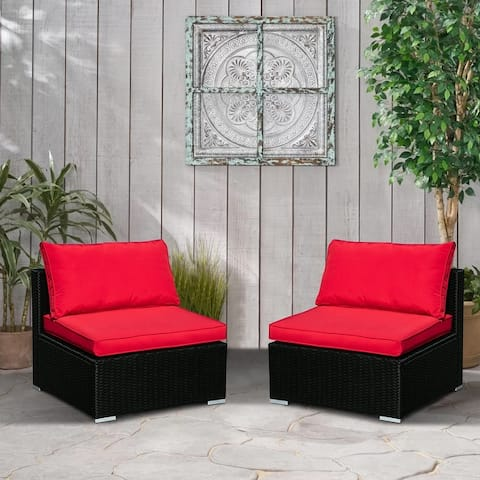 Ainfox 2-piece Rattan Sectional Set Blue/Red/Off-white