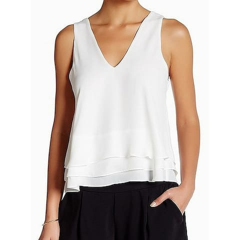 Parker Women's Chiffon V-Neck Cutout White Size Small S Tank Cami Top