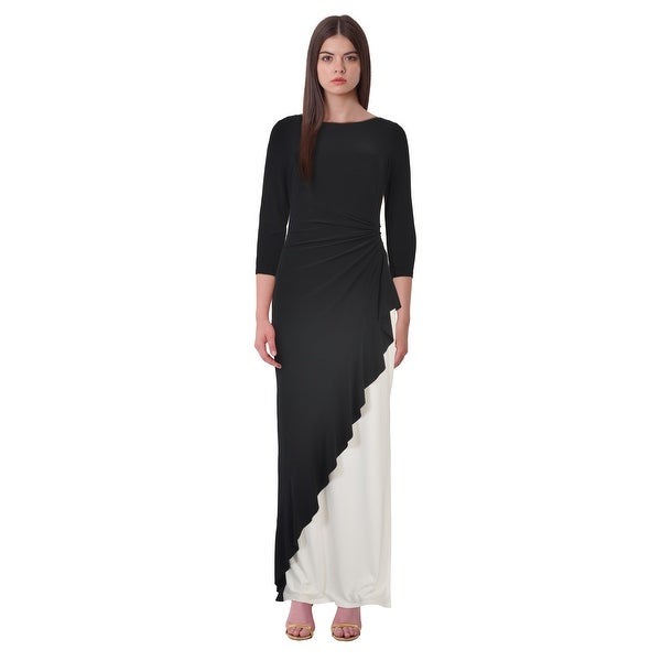 7333f5618a6 Lauren Ralph Lauren Two Tone 3 4 Sleeve Jersey Evening Gown Dress  Black White