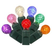 "Set of 100 Multi-Colored LED G12 Berry Christmas Lights 4"" Spacing - Green Wire"
