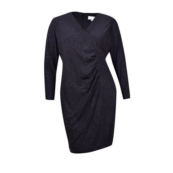 0b63a060 Shop Calvin Klein Women's Petite Glitter Ruched Faux-Wrap Dress - Black -  Free Shipping On Orders Over $45 - Overstock - 21358278