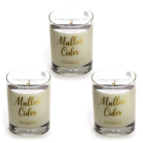 Mulled Cider Scented , Premium Soy Candle Handcrafted, USA (3 Pack)