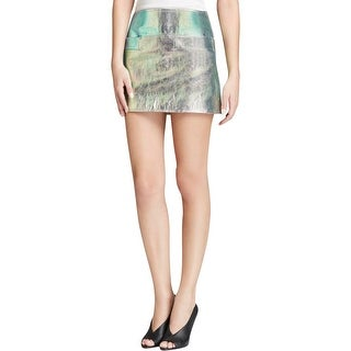 Marc by Marc Jacobs Womens Mini Skirt Leather Metallic