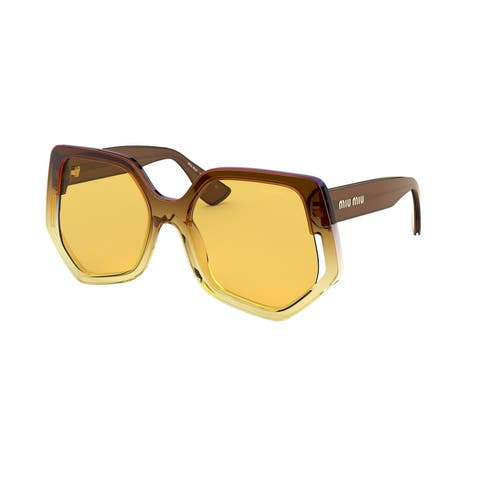 Miu Miu MU 07VS 04D0B7 55 Violet Gradient Yellow Woman Irregular Sunglasses - Violet Yellow - Violet Yellow