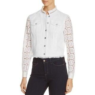 Elie Tahari Womens Meggie Denim Jacket White Wash Crochet Sleeves