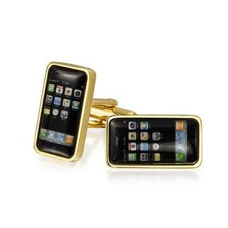 Bling Jewelry Black Smart Phone Home Screen Tech Gold Plated Mens Cufflinks