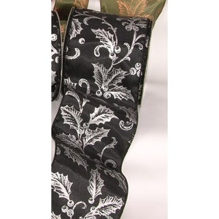 "Black with Silver Poinsettia and Berry Print Wired Craft Ribbon 4"" x 20 Yards"