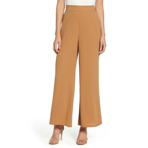 Leith Light Brown Womens Size XS Wide Leg Pull On Dress Pants